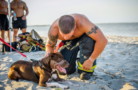 Caitlyn Enjoying Some Time at the Beach with Charleston's Fire Fighters